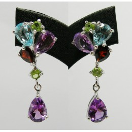 SILVER EARRING WITH MIXED GEMSTONES