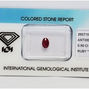 RUBY 0,56 CT WITH CERTIFICATE IGI