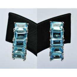 EARRING SILVER WITH BLUE TOPAZ
