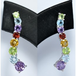 SILVER EARRING WITH GEMSTONES