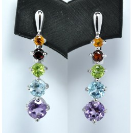 SILVER EARRING WITH MIX GEMSTONES