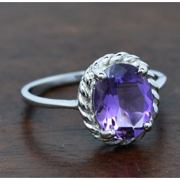 NATURAL AMETHYST IN SILVER RING