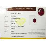 RUBY NATURAL 3.85 CT WITH CERTIFICATE