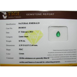 NATURAL EMERALD WITH CERTIFICATE CT.0,78