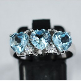 HEART BLUE TOPAZ IN SILVER RING 925