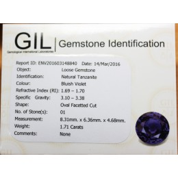NATURAL TANZANITE  CERTIFICATED 1,71 CT
