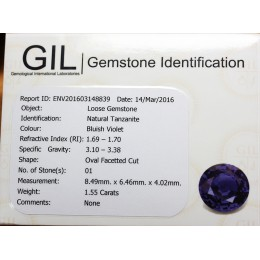 NATURAL TANZANITE WITH CERTIFICATE 1,55 CT