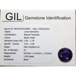 NATURAL TANZANITE WITH CERTIFICATE 1,09 CT