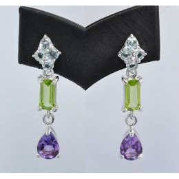 EARRING SILVER WITH NATURALS GEMSTONES